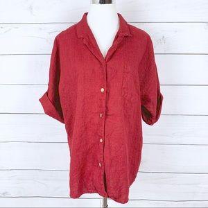 Chico's Design Red 100% Linen Button Down Shirt